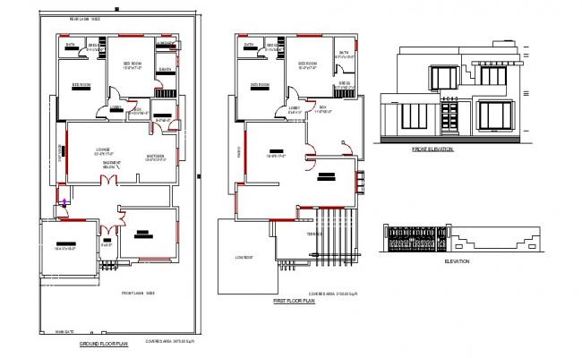 Plan of the house with different elevation in dwg file