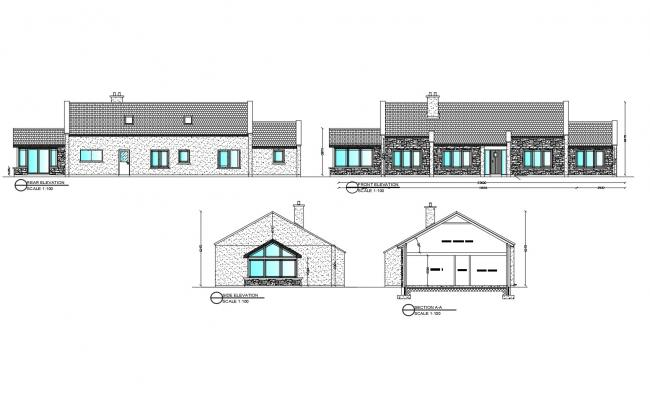 Plan of the house with elevation in dwg file