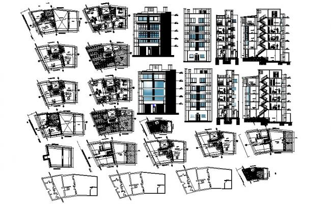 Multistorey Building Plan Elevation Section In DWG File