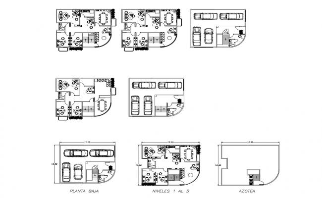 Plan of the office building with detail dimension in AutoCAD