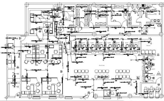 Office building plan in AutoCAD