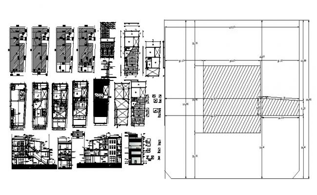 Plan of the office building with elevation and section in dwg file