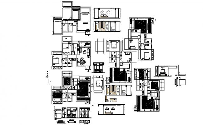 Plan of the residential house with interior design in AutoCAD