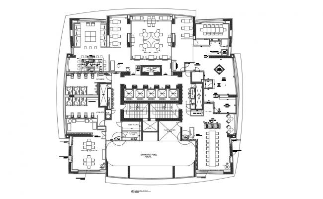 Plan of the restaurant Design with furniture detail in AutoCAD