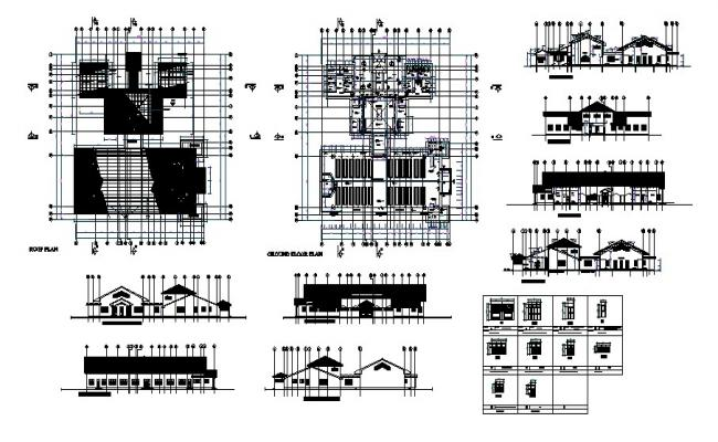 Plan of the school dining hall  with elevation and section in autocad