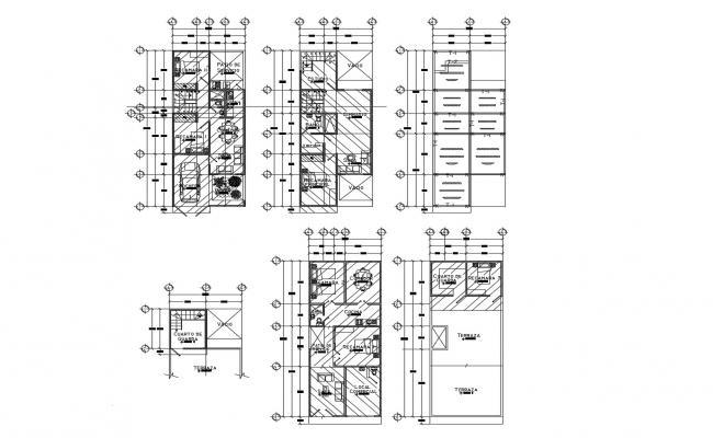 Plan of the single family house with detail dimension in dwg file