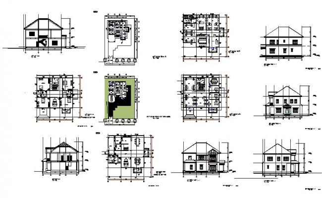 Plan of the villa with section and elevation in dwg file