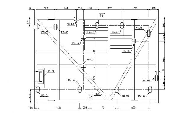 Plan of water utility system in dwg file