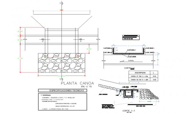 Plan rectangular channel formwork layout file