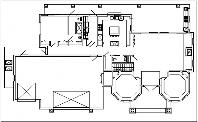 Plan view detail of house dwg file