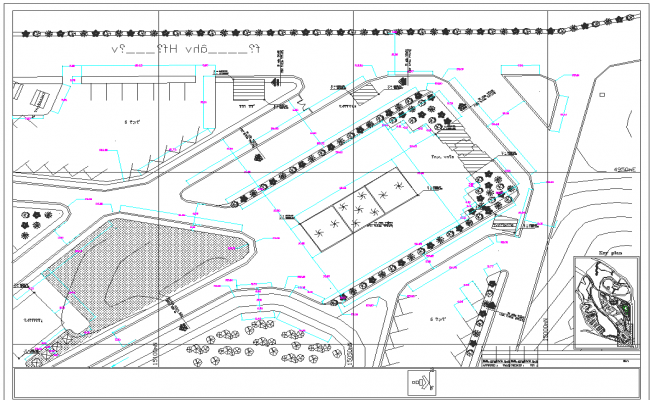 Plan view detail urban park dwg file