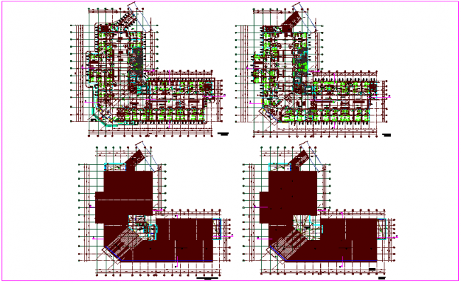 Plan view of government building design view dwg file