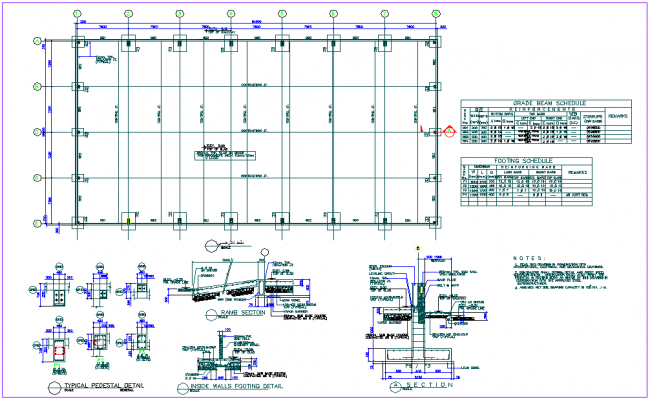 Plan with beam and footing detail and schedule with structure view dwg file