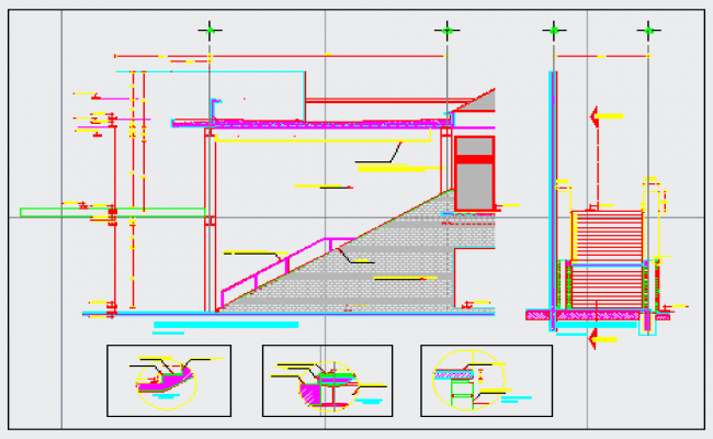 Plane and details in staircase design drawing