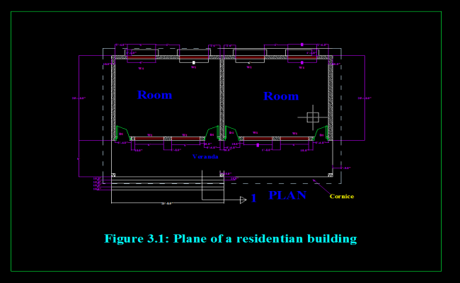 Plane of a residential building