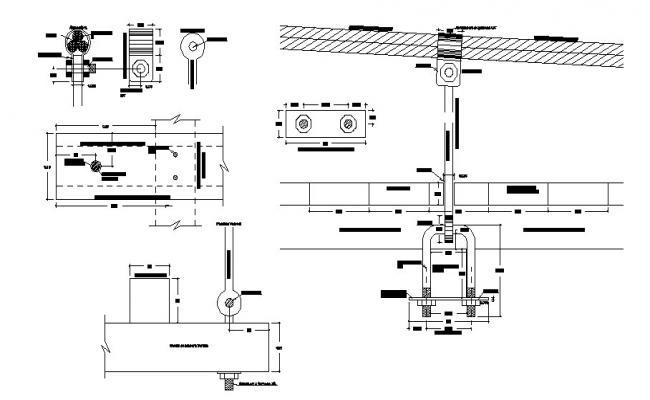 Plane suspension bridge-mystique cad construction and plan details dwg file
