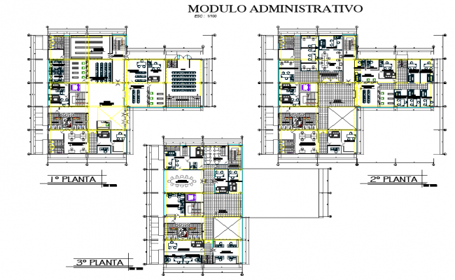 Planing working first floor to third floor civic center autocad file