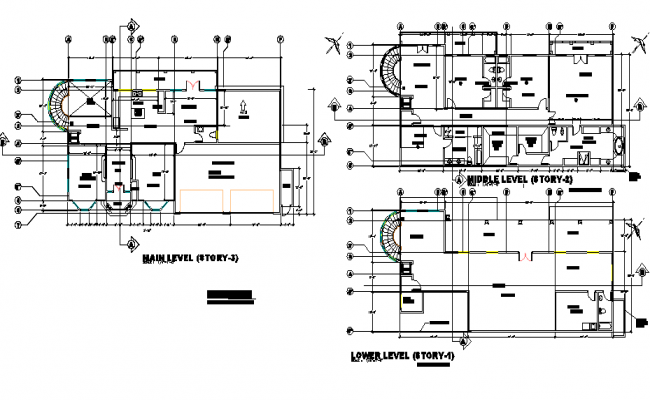 Planning Split level house hill side detail dwg file