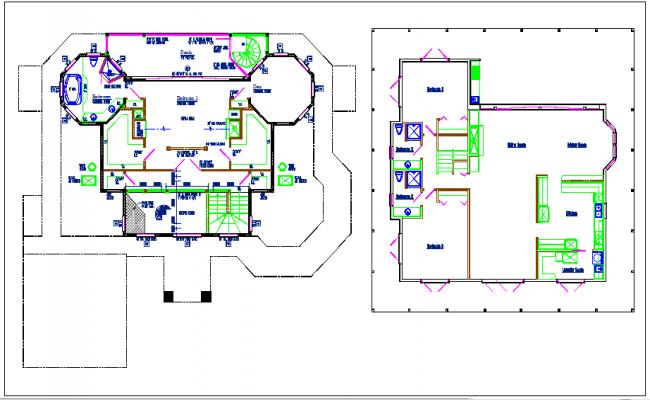 Planning bungalow details dwg files