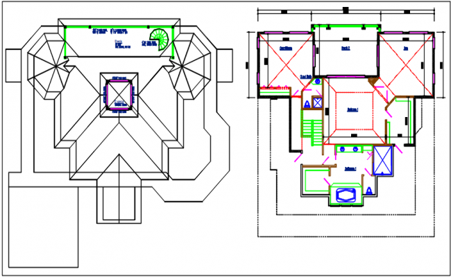 Planning with ground floor and terriers plan and cut out plan, projection detail dwg file