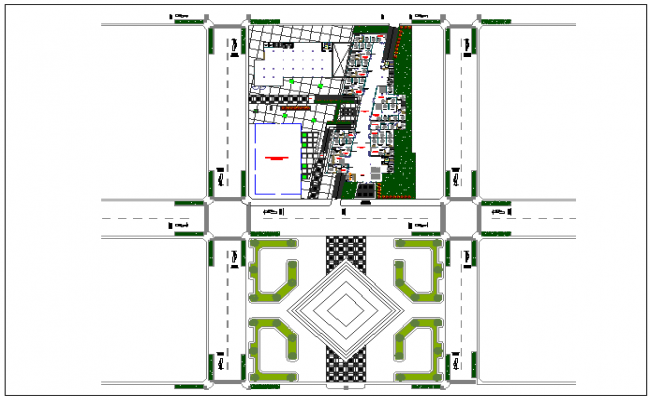 Plantation and car parking, office layout dwg file