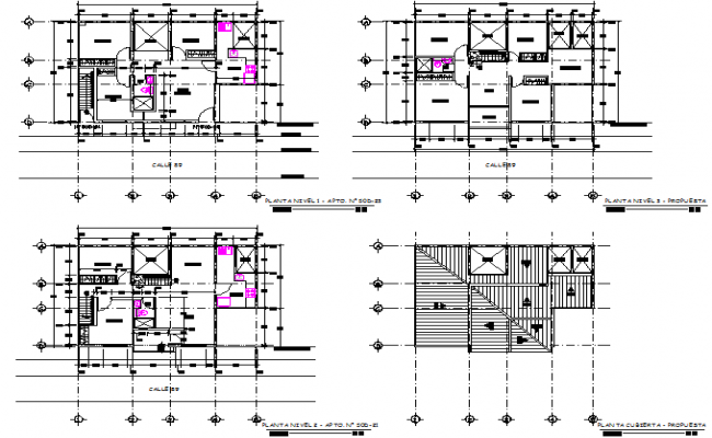 Plants and facades of multi family housing detail dwg file