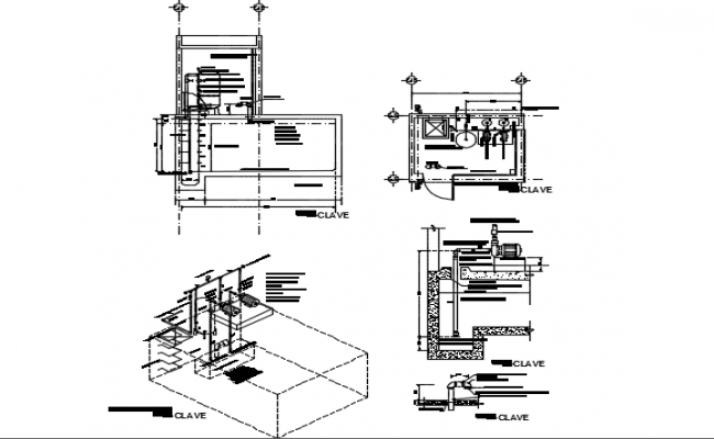 Plants sections isometrics detail of hydro pneumatic room dwg file