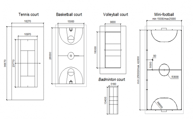 Play court area  dwg file