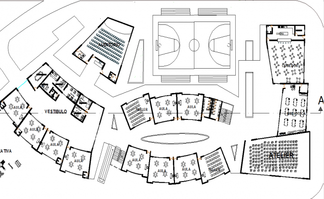 Play court area of school dwg file