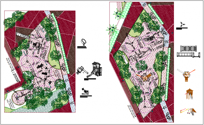 Play ground plan with playing equipment dwg file