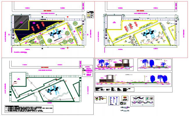 Playground plan view detail dwg file