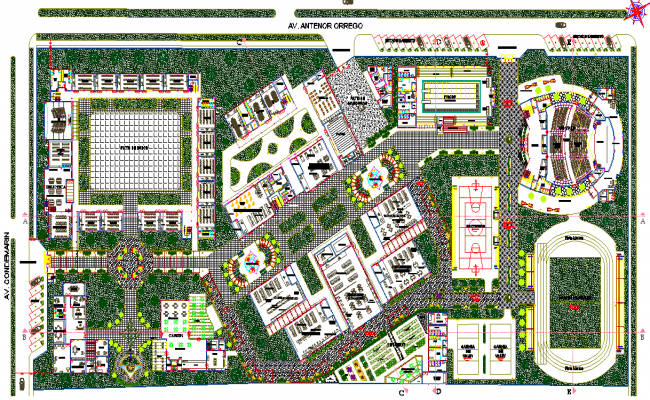 Plot and landscaping detail dwg file