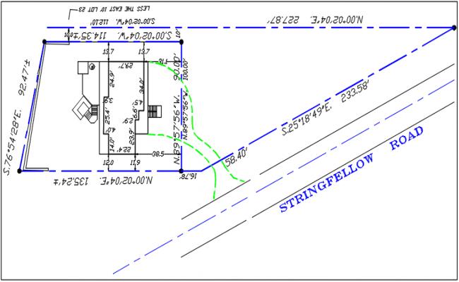 Plot area building line and road line details dwg file