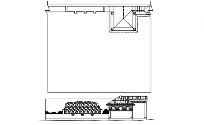 Plot area plan and elevation detail dwg file