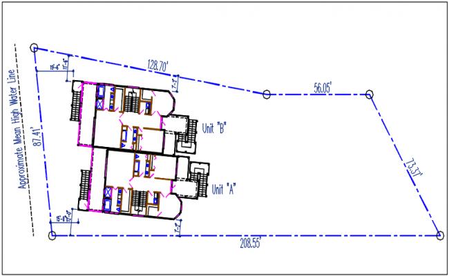 Plot area unit A and unit B plan view detail dwg file