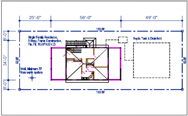 Plot area with dimension details dwg files