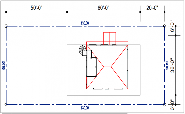 Plot area with dimension gazebo details dwg file
