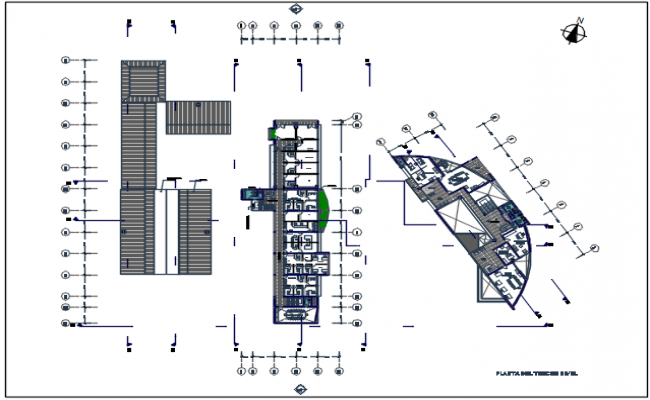 Plot detail in center line plan detail dwg file