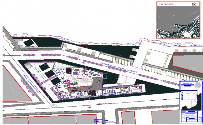 Plot layout office building plan detail dwg file