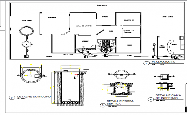 Plumbing details of one family house with layout plan dwg file