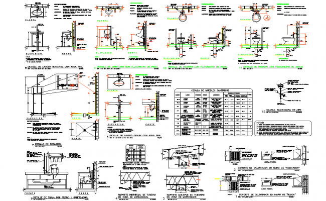 Plumbing elevation and section plan autocad file