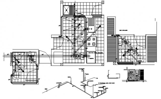 Plumbing layout of bathroom in autocad