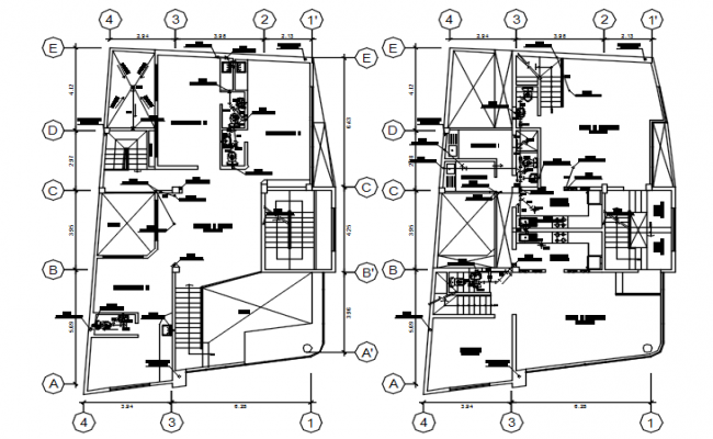 Plumbing layout of the clinic in AutoCAD drawing