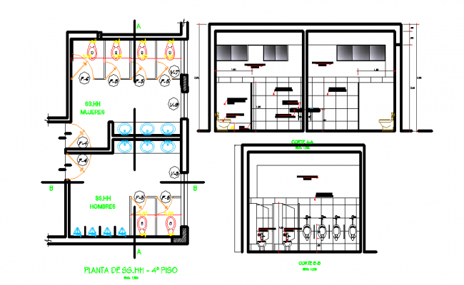 Plumbing plan and elevation detail dwg file