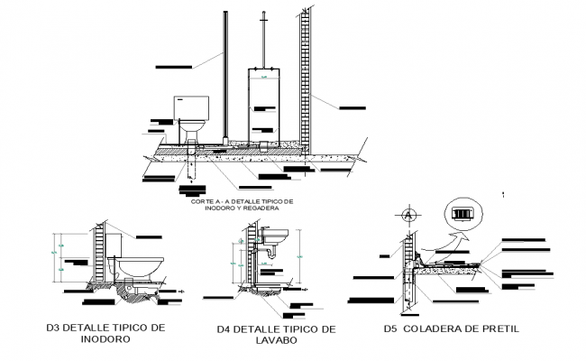 Plumbing sanitary elevation and section plan layout file