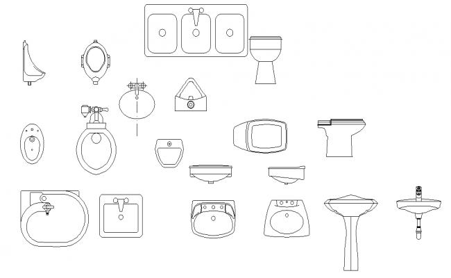 Plumbing sanitary elevation plan autocad cad file