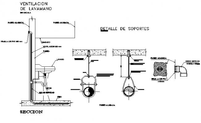 Plumbing sanitary section detail dwg file