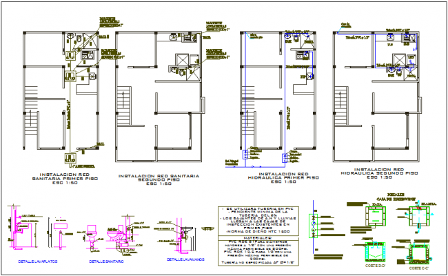 Plumbing view in sanitary and hydraulic installation view in plan of house dwg file
