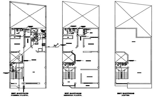 Plumbing water line house plan detail dwg file