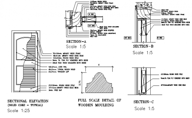 Plywood house door architecture project dwg file